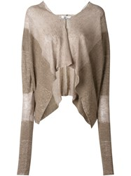 Lost And Found Ria Dunn Cropped Batwing Sleeve Cardigan Nude And Neutrals