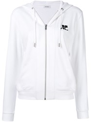 Courreges Front Zip Hoodie White