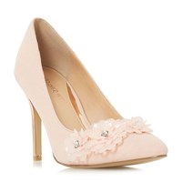 Head Over Heels Ayria Flower Encrusted Court Shoes Nude