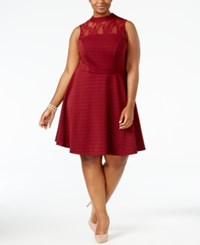 Love Squared Trendy Plus Size Mock Neck Illusion Dress Burgundy