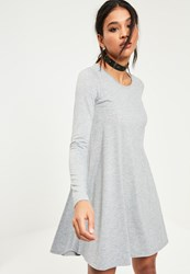 Missguided Grey Long Sleeve Crew Neck Jersey Swing Dress