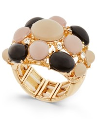 Inc International Concepts Gold Tone Tri Color Stone Bubble Stretch Ring Only At Macy's