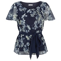 Jacques Vert Butterfly Floral Top Multi Navy
