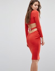 Bec And Bridge Trixie Longsleeve Plunge Dress Paprika Red