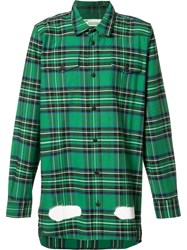 Off White Plaid Shirt Green