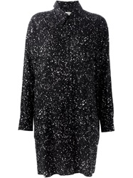 Saint Laurent Splatter Print Shirt Dress Black