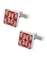 Thompson London Square Cuff Links W Fish Detail Red