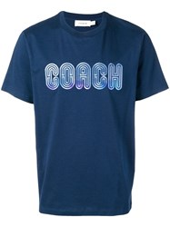 Coach Embroidered Logo T Shirt Blue