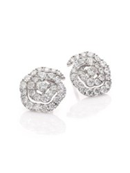 Hearts On Fire Lorelei Diamond And 18K White Gold Floral Stud Earrings