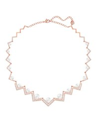 Swarovski Edify Faux Pearl And Crystal Necklace Rose Gold