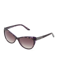 Thierry Mugler Purple Tortoise Acetate Cat Eye Sunglasses