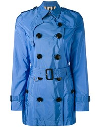 Burberry Cropped Trench Coat Women Polyamide Polyester 12 Blue