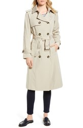 London Fog Long Double Breasted Trench Coat Stone