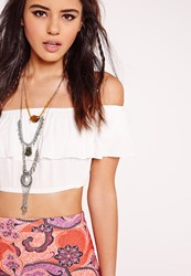 Missguided Mixed Bead Statement Necklace Silver Grey