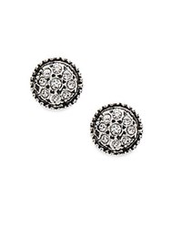 Azaara Vintage By Swarovski Crystal Silverplated Silver And Copper Button Stud Earrings