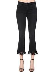 Frame Le Crop Mini Boot Fringe Denim Jeans Washed Black