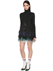 N 21 Stretch Wool Knit And Feathers Dress