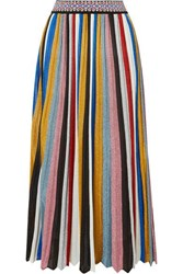 Missoni Pleated Striped Metallic Knitted Midi Skirt Black