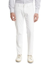 Loro Piana Tasche 5 Pocket Slim Fit Denim Jeans White Gray