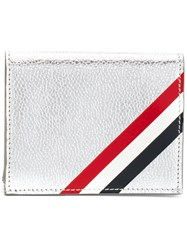Thom Browne Double Card Holder With Red Metallic
