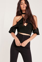 Missguided Frill Sleeved Crop Top Black Black