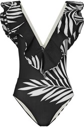 Johanna Ortiz Anastacia Ballet Frilled Cut Out Swimsuit Black