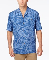 Tommy Bahama Men's Big And Tall Cayo Palms Floral Print Silk Short Sleeve Shirt Deep Space