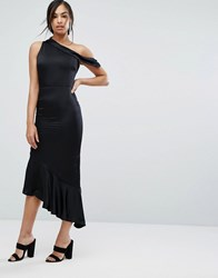 Lavish Alice Satin One Shoulder Asymmetric Hem Dress Black