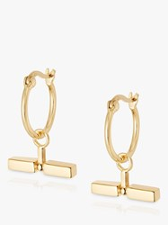 Daisy London Stacked Bead And T Bar Hoop Earrings Gold