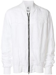 Lost And Found Rooms Long Sleeved Bomber Jacket Linen Flax White