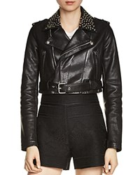Maje Bloodya Studded Leather Jacket Black