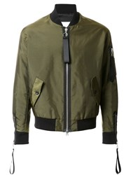 Matthew Miller Cuff Zip Detail Bomber Jacket Green