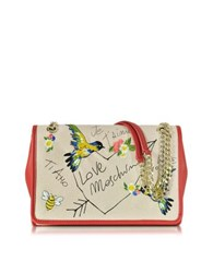 Love Moschino Natural Canvas And Red Eco Leather Shoulder Bag W Embroidery I You Beige