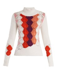 Peter Pilotto Crochet Panel Ribbed Knit Cotton Blend Sweater White Multi