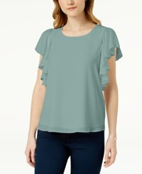 Maison Jules Ruffled Top Created For Macy's Silver Sage
