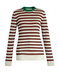Marni Striped Contrast Collar Cashmere Blend Sweater Red Multi