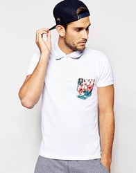 Franklin And Marshall Pique Polo Shirt With Floral Print Pocket White