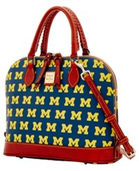 Dooney And Bourke Michigan Wolverines Zip Zip Satchel Blue