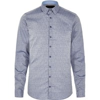 Vito River Island Mens Blue Textured Print Shirt