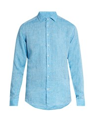 Etro Button Cuff Linen Shirt Blue