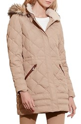 Lauren Ralph Lauren Women's Quilted Jacket With Faux Fur Trim Racing Khaki