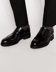 Selected Homme Leather Brogue Shoes Black