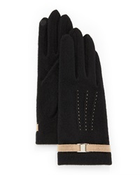 Portolano Buckle Trim Tech Gloves Blk Camel