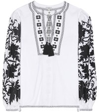 Talitha Handloom Embroidered Cotton Blouse White
