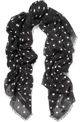Saint Laurent Polka Dot Cashmere And Silk Blend Scarf Black