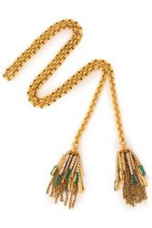 Elizabeth Cole Gold Tone Crystal And Stone Necklace Green
