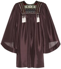 Etro Silk Mini Dress Brown