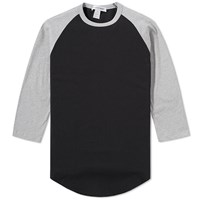 Comme Des Garcons Shirt Contrast Panel Baseball Tee Black