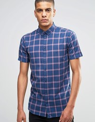 Minimum Shirt With Navy Check Short Sleeves In Slim Fit Midnight