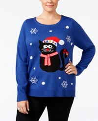 Karen Scott Plus Size Cat Holiday Sweater Only At Macy's Deep Pacific